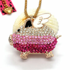 Hot Lovely Shiny Red Pink Wing Pig Crystal Betsey Johnson Pendant Women Necklace