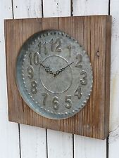 Large wood & galvanized metal wall clock farmhouse french country home decor