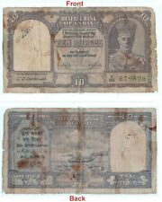 Original 10 Rs British India Note C.D. Deshmukh Signed king George VI. G5-63 US