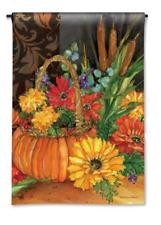 """Pumpkin Basket with Flowers, Cattails 12.5""""x18"""" Garden Flag - """"Autumn Tapestry"""""""