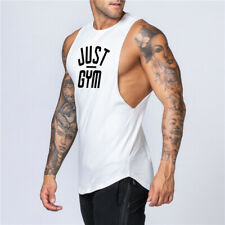 Mens Gym Tank Top Vest Muscle Sleeveless Bodybuilding Singlets Cotton Fitness