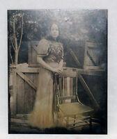 MODERN TINTYPE ART FASION PHOTOGRAPH WOMAN PORTRAIT LADY DRESS INDUSTRIAL CRATE