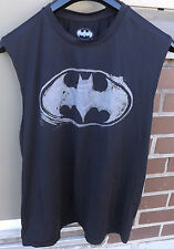 BATMAN Mens Muscle Tank Top Distressed Logo Black and Grey Size Large