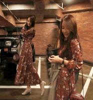 floral korean women ladies chiffon long sleeve summer maxi dress