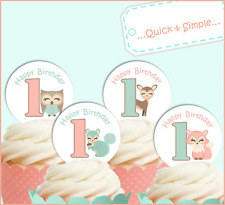 #418. Woodland Animals baby girl EDIBLE cupcake topper 1st birthday mint coral