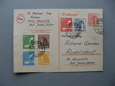 GERMANY DDR, uprated prestampd PC (card) 1948, 10x franking