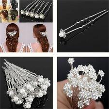 Nice Wedding Bridal Crystal Rhinestone Pearl Flower Hair Pin Clips 10PCs♫