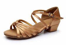 Children child Girl Ballroom Tango Latin Dance Dancing Shoes heeled Salsa 8Color