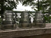 LOT OF 3 VINTAGE ANTIQUE WHITALL TATUM No1 CLEAR GLASS INSULATORS CIRCLE A