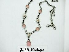 BRIGHTON Rose Floral Pink Glass Necklace