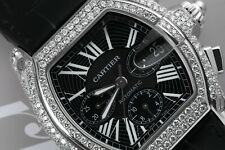 Cartier Roadster XL W62020X6 Chronograph Custom Diamond Watch on Leather Strap