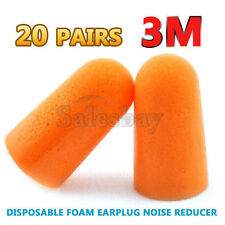 20 Pairs 3M 1100 Disposable Foam Ear Plug Noise Reducer Uncorded Individul Wrap