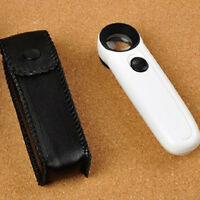 High Power 40x Light Magnifying Glass Hand Held Magnifier With LED Microscope