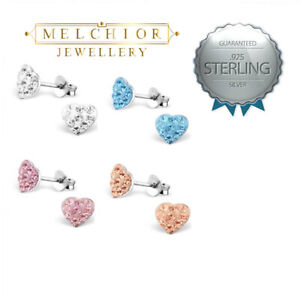 Childrens Girls Sterling Silver HEART stud Pink Blue Clear Earrings Boxed