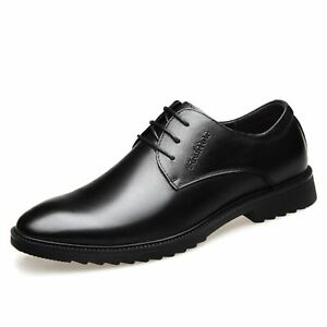 Men's Dress Oxford Round Toe Genuine Leather Lace Up Style Shoes Wedge