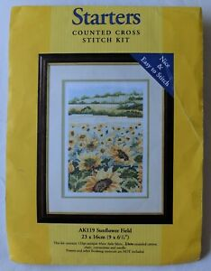 New ANCHOR Counted CROSS STITCH KIT of Sunflowers  with 11 Aida