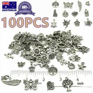 100 Jewelry Making Silver Charms Mixed Tibetan Silver Metal Charms Pendants DIY