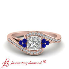 Princess Diamond And Sapphire Gemstone Bypass Rose Gold Engagement Ring 0.75 Ctw