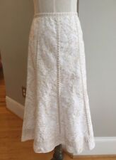 Peter Nygard Women's 6 Off White w/ Cream Embroidered Skirt  A- Line Boho Floral