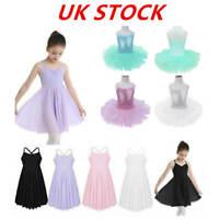 UK Kids Girl Ballet Dance Dress Leotard Tutu Skirt Dancewear Performance Costume