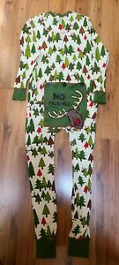 LAZY ONE Union Suit Christmas Pajamas 'No Peeking' Sz.M Unisex Moose and Trees