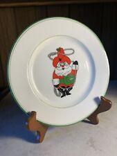 Vintage 7.5� Fitz And Floyd 1976 Cowboy & Lasso Santa Claus Dessert Side Dish