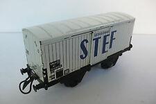 """HORNBY  WAGON SNCF  FRIGORIFIQUE  STEF TÔLE   ÉCHELLE """"O""""  BEL ÉTAT  L 18cm 1954"""