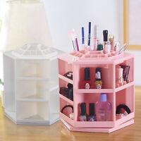 360° Rotating Standing Display Cosmetic Makeup Organizer Storage Box Shelf UK