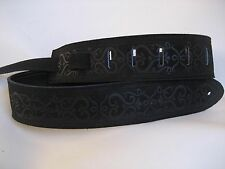 LEATHER BLACK SUEDE WITH A  DESIGNER PATTERN BASS, ACOUSTIC GUITAR STRAP