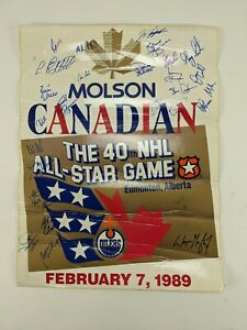 1989 Molson NHL All-Star Game Poster Autographed by Gretzky Lemieux Hull