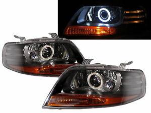 Kalos 2002-2008 Hatchback 3D/5D COB Projector Headlight Black for DAEWOO LHD