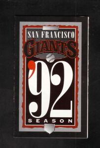 San Francisco Giants--1992 Pocket Schedule--Budweiser