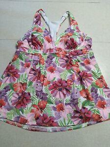 Lands End Women's Swim Tankini Top Size 8 Purple Pink Floral