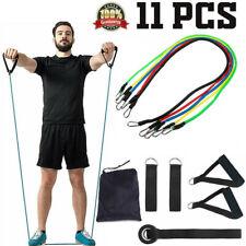 11Pcs Set Resistance Bands Workout Yoga Exercise Crossfit Fitness Training Tube