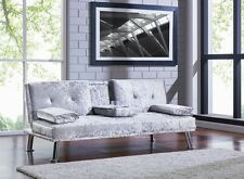 Crushed Velvet Fabric Silver Black Sofa Bed Cupholder 3 Seater Chrome Legs New