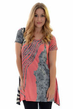 Polyester Animal Print Short Sleeve Tunic Tops for Women