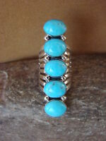 Native American Jewelry Sterling Silver 5 Stone Turquoise Ring! Size 5- Yazzie