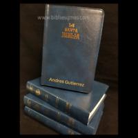 "Biblia Antigua Version Valera 1602 Tamaño Manual Azul VinilFlex ""Personalizada"""