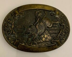Vintage Chambers Brass Western Calf Roping Rodeo Belt Buckle Bull riding #5