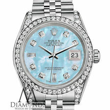 Ladies Rolex Datejust 26mm Baby Blue Mother Of Pearl Diamond Dial SS Watch
