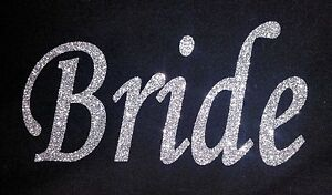 PERSONALISED HEN PARTY WEDDING GLITTER IRON ON HOTFIX TRANSFER, Various Titles