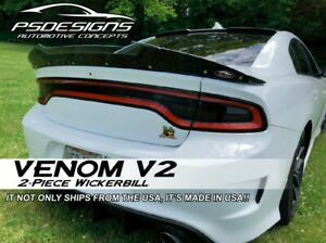 2 PC VENOM *V2* 2015+ Dodge Charger Rear WickerBill Spoiler w/ Rivnut Tool