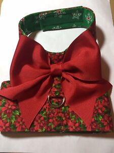 Merry Christmas Poinsetta dog harness vest size XL (1197)
