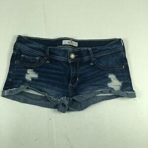 Hollister Womens Medium Wash Pockets Distressed Blue Denim Jean Shorts Size 7