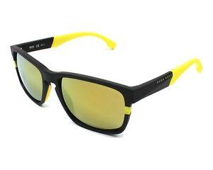 Hugo Boss 0916/S 1XE C4  Matte Black Gold Mirror Polarized Sunglasses 0916