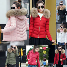 UK Ladies jacket Quilted Padded Puffer Fur Collar Warm Bubble Womens Puffa Coat