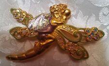 Fairy Rhinestone Enamel Brooch Pin Kirks Folly Signed Gold Tone Woodland