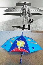 """From the Pez Outlaw Collection vinyl 28"""" Umbrella Alien UFO Area 51 Roswell blue"""