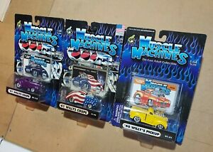 3 Muscle Machines Willys Coupe 911 red white and blue Pick up 1/64 gasser purple