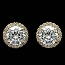 2.99 ct Round Cut Beautiful Diamond Stud Earrings 14k Solid Yellow Gold